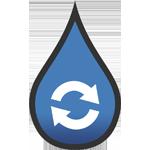 Gezeichnetes Symbol für Regenwasser-Anlage