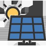 Gezeichnetes Symbol für Photovoltaik, der saubere Strom von der Sonne