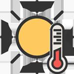 Gezeichnete Sonne und Thermometer, Symbol für solarthermische Wärme